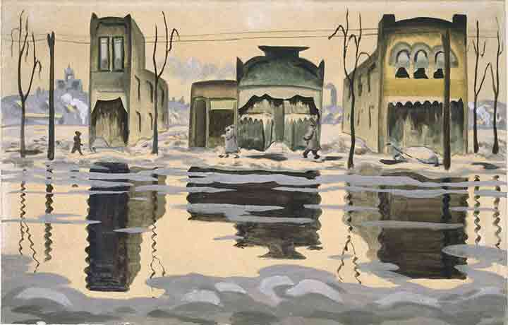 Charles Burchfield Art Paintings Haunted Houses with Faces & Eyes