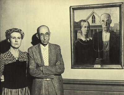 Photo Of Real Life Couple From Grant Wood American Gothic Painting