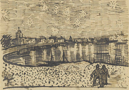 1888 Draft, Sketch, Study of Vincent Van Gogh's Starry Night Over the Rhone painting