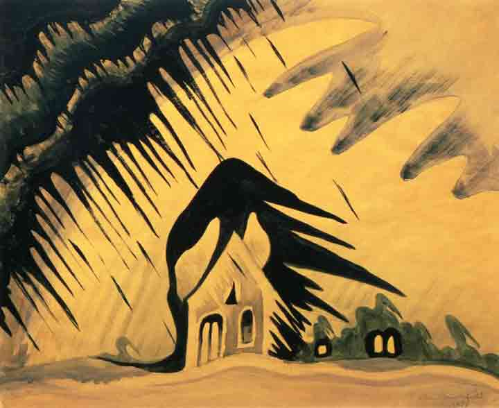 Burchfield Buffalo East Wind Haunted House Painting