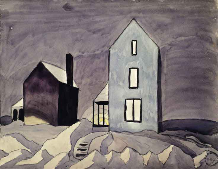 Charles Burchfield Two Houses (1920) Winter House Paintings