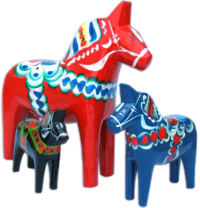 Meaning: Red Carved Wooden Dalecarlian Dala Horse from Dalarna, Sweden